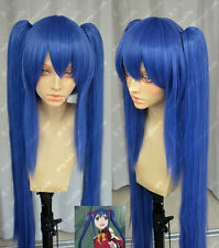 New Women Long Blue Double Ponytail Cosplay Fairy Tail Wendy Marvell Costume Wig