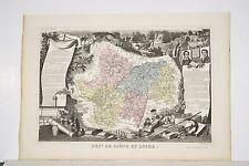 Carte département SAONE ET LOIRE Levasseur Géographe vers 1860