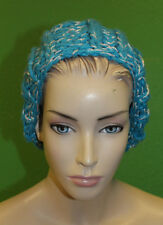 CANDELA NYC Bright Blue Knit Crochet Slouchy Beret w/ Silver Stitching $100 NEW