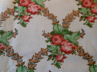 Antique Vtg. French Cottage Roses Ferns Berries Garland Cotton Fabric~ Red Green