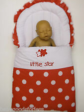 BABY NEST BABY SLEEP SAC BABY SLEEPING BAG RED WHITE SPOTS LITTLE STAR COTTONMIX