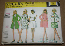 VINTAGE SEWING PATTERN McCALL'S 2236 MISSES' DRESS COAT JACKET SIZE: 14