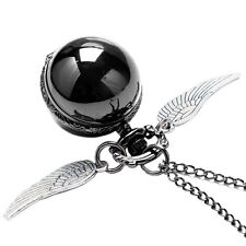 Harry Potter Snitch Pocket Watch Necklace Steampunk Quidditch Wing Ball Pendant