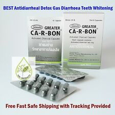 Activated CHARCOAL Capsules Detox Gas Antidiarrheal Diarrhoea Teeth Whitening