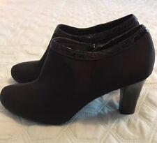 Liz Claiborne Black Heel Side Zip Judy Bootie Ankle Boot Sz 8 M