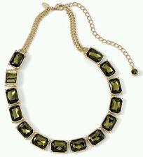 "Lia Sophia Versailles Olivine Necklace Emerald Gold Cut Crystal18""-23"" Orig$158"