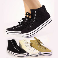 NEW WOMENS GIRLS HIGH TOP HI PUMPS WHITE PLIMSOLLS DESIGNER SHOES BOOTS UK SIZE