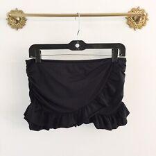 Kenneth Cole Reaction Solid Black Ruffle Skirt Skort Swimsuit Bottom Small S