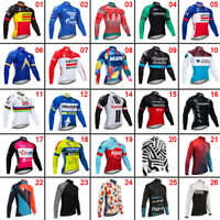 New Mens Cycling Long Sleeve Jersey Bike Tops Clothing Shirts Cool Polyester Pro