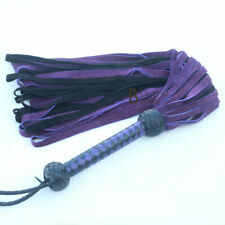 Real Genuine Cow Hide Suede Leather Flogger / Whip 50 Falls Purple Black Heavy
