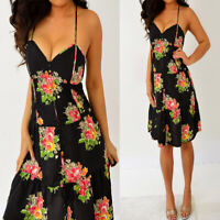 AMERICAN EAGLE OUTFITTERS Black Green Orange Pink Floral Dress 0 XS