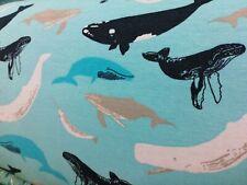 cotton jersey fabric half metre 50cm organic GOTS Whales on Blue sweatshirt