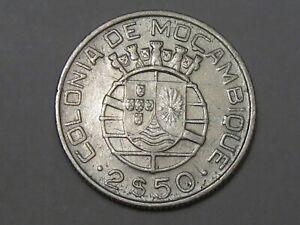 1942 Silver 2½ Escudos Coin of Portuguese Mozambique.  #54