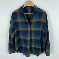 Uniqlo Womens Shirt Top Medium Oversized Multicoloured Plaid Long Sleeve