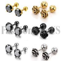 12pcs Stainless Steel Men's Women's Round Screw Back Pierced Ear Studs Earrings