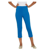 Joan Rivers Regular Signature Pull-On Crop Pants - Cadet Blue - Large