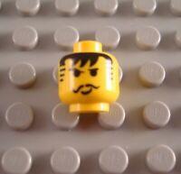 LEGO x 10 Yellow Minifig Head Moustache Black Bangs Striped Sideburns Pattern