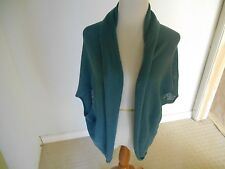 Forever 21 shrug jacket knit slate blue tunic top length vest S/M
