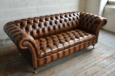HANDMADE CHESTERFIELD SOFA COUCH CHAIR 3 SEATER VINTAGE ANTIQUE TAN LEATHER