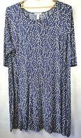 CHELSEA STUDIO Dress Women's Plus 5X Blue Dots Princess Seams Stretch 3/4 Sleeve