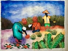 Original folk art oil painting of workers in a tropical garden-signed by artist