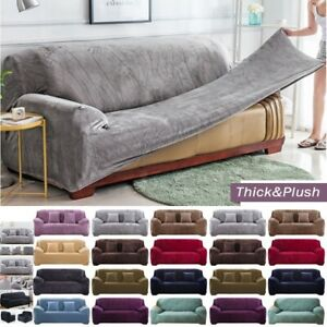 Plush Sofa Cover Stretch Solid Thick Slipcover for Living Room Pets Chair Cover