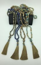 Fashion gemstone long knot Amazonite beads Necklace stone tassel woman jewelry