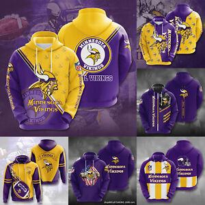 Minnesota Vikings Mens Footbball Hoodie Casual Hooded Sweatshirt Pullover Jacket