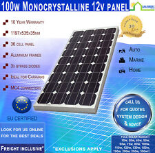 100 Watt 12 Volt Mono Solar Panel  ~ Freight Inclusive ~ 10 Yr Wty ~ 100 W 12 V