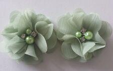"2 Girls small Sage light green  2""  Flower.Voile  Hair Clip pearl diamante"