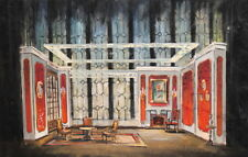 Vintage gouache painting stage design living room
