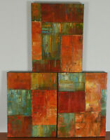 YEHAN WANG Original Triptych Painting Contemporary Abstract Chinese Canadian