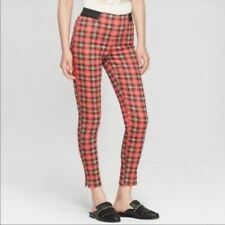 New Junk Food Goth Punk Red Tartan Plaid Stretch Waist Skinny Stiletto Pants L