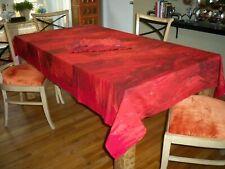 "Crate & Barrel Marimekko Ulappa Red Tablecloth Cotton 60"" x 108"" & 10 Napkins"