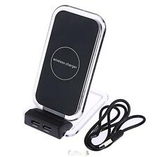 New 3 Coils Double USB Qi Wireless Fast Charging Charger Pad Stand Holder +Cable