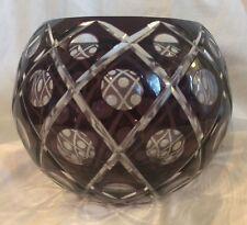 "Cut to Clear Crystal  Bohemian Czech Amethyst Purple Dots Art Glass bowl vase 7"""