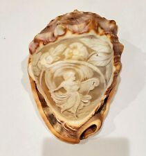 Vintage Sea Conch Shell with Cameo Carved Lady