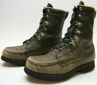 MENS VINTAGE FIELD AND STREAM GREEN LEATHER LACE UP HUNTING BOOTS SZ 7 B 7B