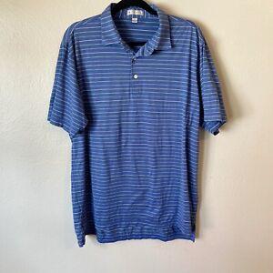 Peter Millar Striped Polo Shirt Size L Flaw