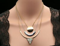 Modern Triangle lucite shell 3 layer chain pendant choker necklace jewelry S57