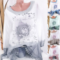 Women Plus Size Lace Floral Print Long Sleeve Blouse Loose Pullover Tops Shirt