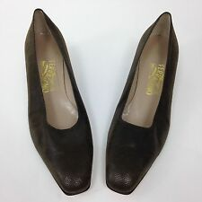 Salvatore Ferragamo Womens Brown Pumps Textured Suede Block Heel Size 10.5 AA