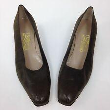 Salvatore Ferragamo Brown Pumps Textured Suede Block Heel Womens Size 10.5