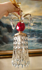 1of7 Vintage ruby Lucite SWAG closet lighting lamp chandelier crystal prisms