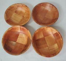 "Vintage Woven Wood Soup Cereal Snack Bowls - 6"" (4)"