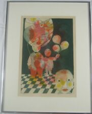 """Vintage Original Colored Etching """"Children with Balloons"""" by Aram Ebgi Listed"""