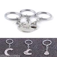 New 3Pcs Fashion Love Heart Key Couple Key Chain Ring Keyring Keyfob Lover Gifts