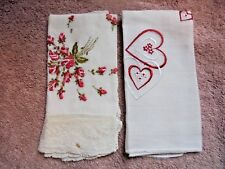 Vtg Floral Heart Red Mix Lace  Womens Embroidered Handkerchief Hankie Lot 2