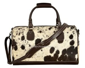 New Men's Real Cow Fur Brown Real Cow Hide Leather Large Weekend Holdall Bag