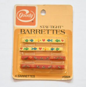 """Goody Vintage 2"""" Stay Tight Barrettes Spring Clip Watermelon Fish USA 1982"""